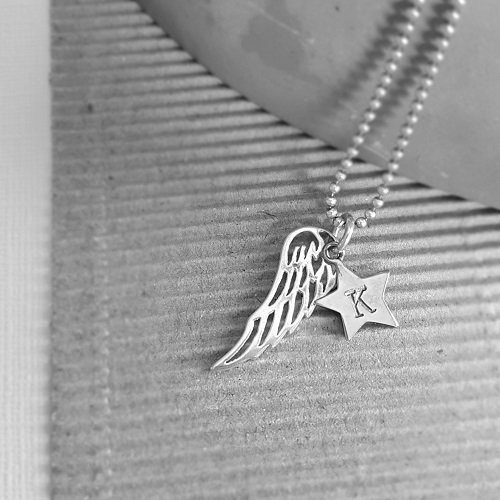 sterling silver hand stamped angel by my side sterling silver necklace