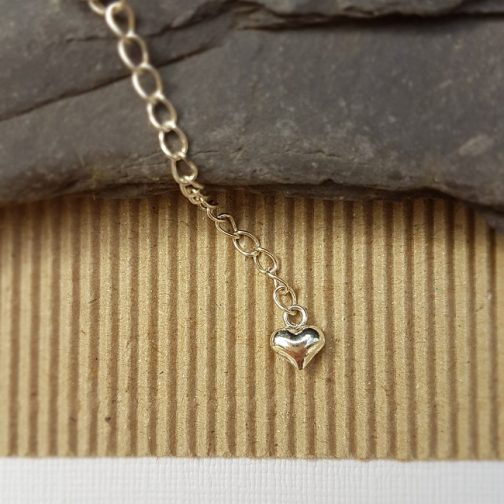 """sterling silver 2"""" extender on necklace with heart charm"""