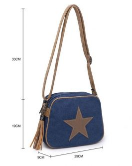 Fabric Star Tassel Cross Body Bag Grey