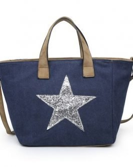 Fabric Star Tote Bag Grey